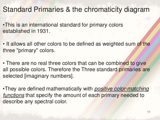 11 Standard Primaries & the chromaticity diagram •This is an international standard for primary colors established in 1931...