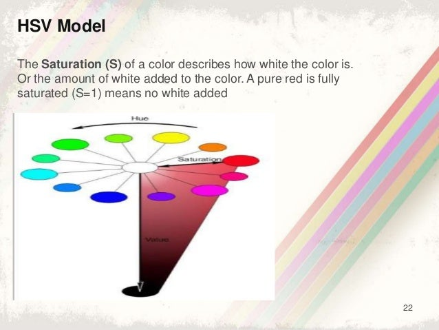 22 HSV Model The Saturation (S) of a color describes how white the color is. Or the amount of white added to the color. A ...