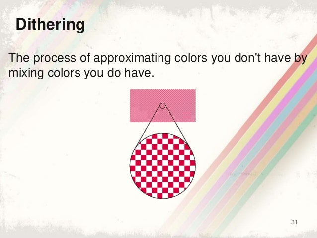 31 Dithering The process of approximating colors you don't have by mixing colors you do have.