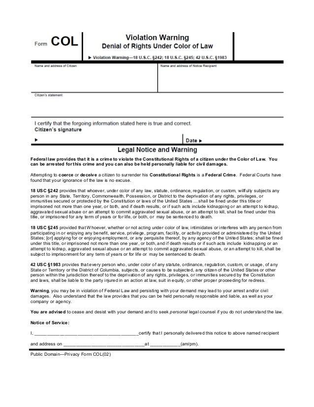 Color Of Law Violation Form - Law form