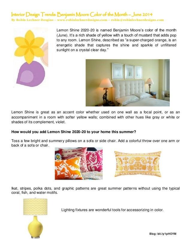 Interior Design Trends Benjamin Moore Color Of The Month June