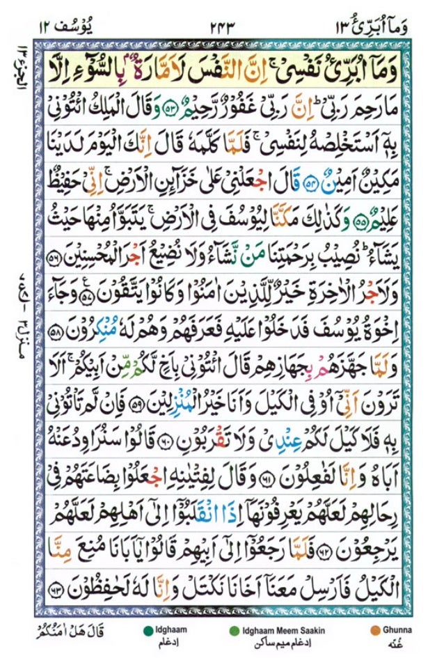 Tajwīdī Qur'ān | Juz 13 | وَمَا أُبَرِّئُ | PDF