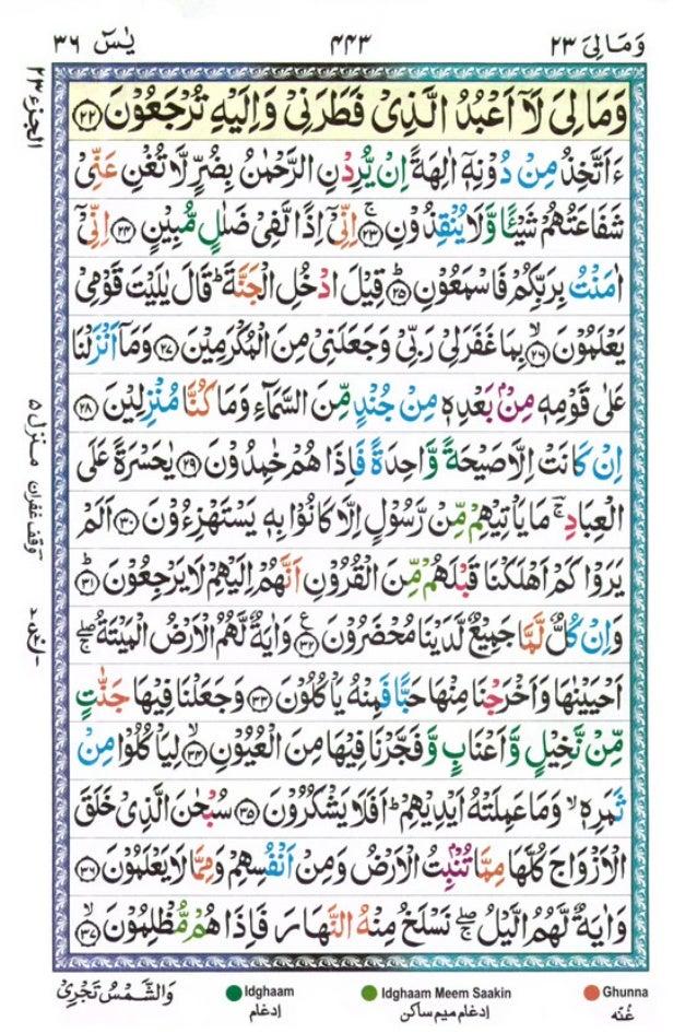 Tajwīdī Qur'ān | Juz 23 | وَمَا لِيَ | PDF (القرآن جز ٢٣)