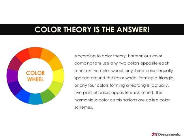 COLOR THEORY IS THE ANSWER!  According to color theory, harmonious color  combinations use any two colors opposite each  o...
