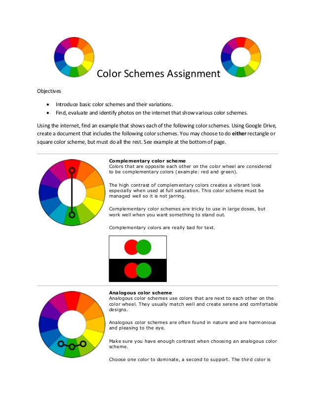 Color Schemes Assignment Objectives Introduce Basic And Their Variations