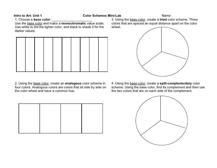 Intro to Art: Unit 1                               Color Schemes Mini-Lab                               Name:  1. Choose a...
