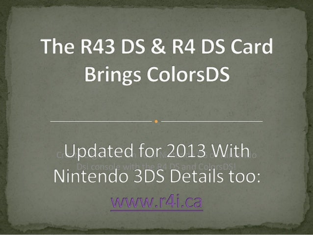 R4 DS  Card Brings ColorsDS http://www.ModChipStore.com Create Digital Art On Your Nintendo DS or Nintendo Dsi console wit...