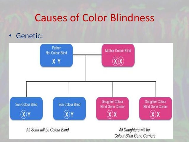 the causes of color blindness Color blindness or color vision deficiency can make an individual's life very difficult, as it is very hard for them to learn and read know the causes, symptoms, tests and treatment.