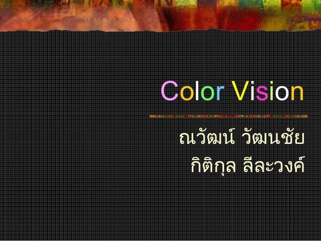 Color Vision ณวัฒน์ วัฒนชัย กิติกล ลีละวงค์ ุ