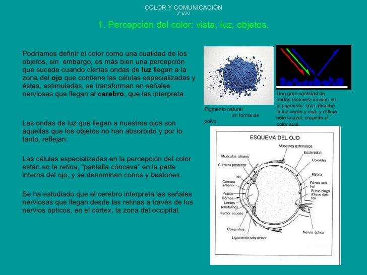 COLOR Y COMUNICACIÓN 3º ESO Podríamos definir el color como una cualidad de los objetos, sin  embargo, es más bien una per...