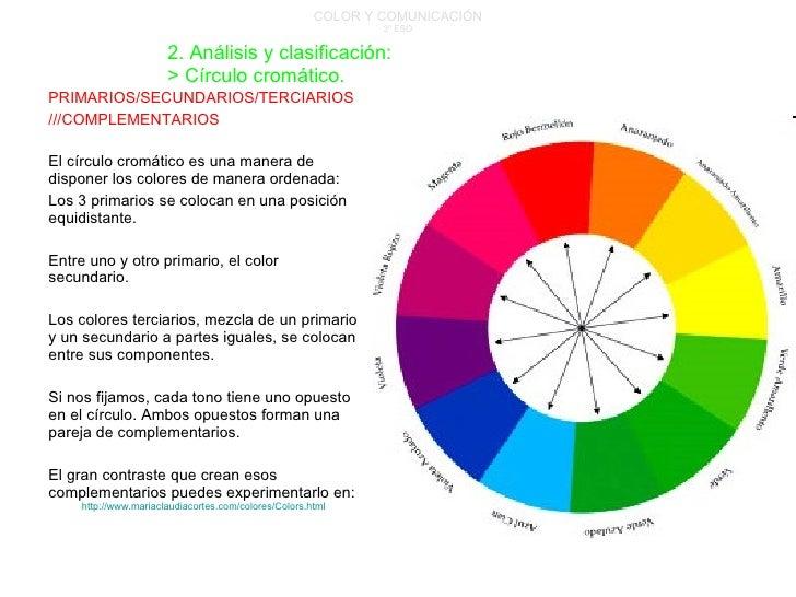 COLOR Y COMUNICACIÓN 3º ESO PRIMARIOS/SECUNDARIOS/TERCIARIOS ///COMPLEMENTARIOS El círculo cromático es una manera de disp...