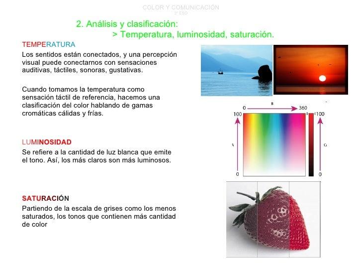COLOR Y COMUNICACIÓN 3º ESO TEMPE RATURA Los sentidos están conectados, y una percepción visual puede conectarnos con sens...