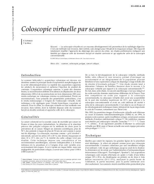 Coloscopie virtuelle par scanner  G Schmutz  T Iyriboz  Résumé. – La coloscopie virtuelle est un nouveau développement trè...