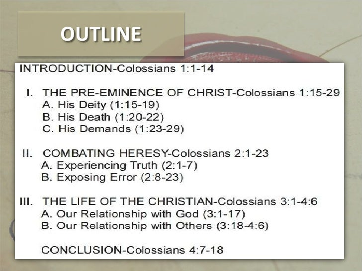outline of colossians
