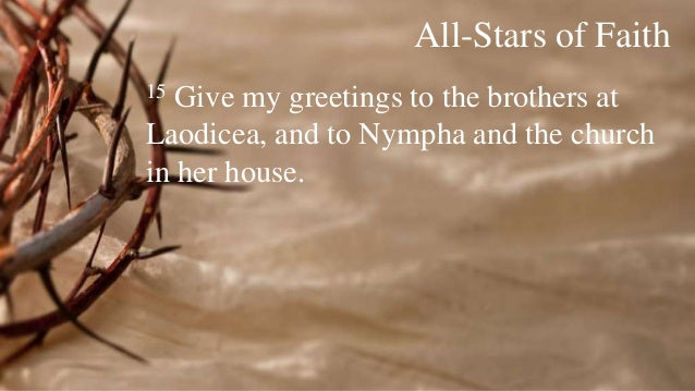 The supremacy of christ a study in colossians the priority of peop 24 all stars of faith 15 give my greetings m4hsunfo