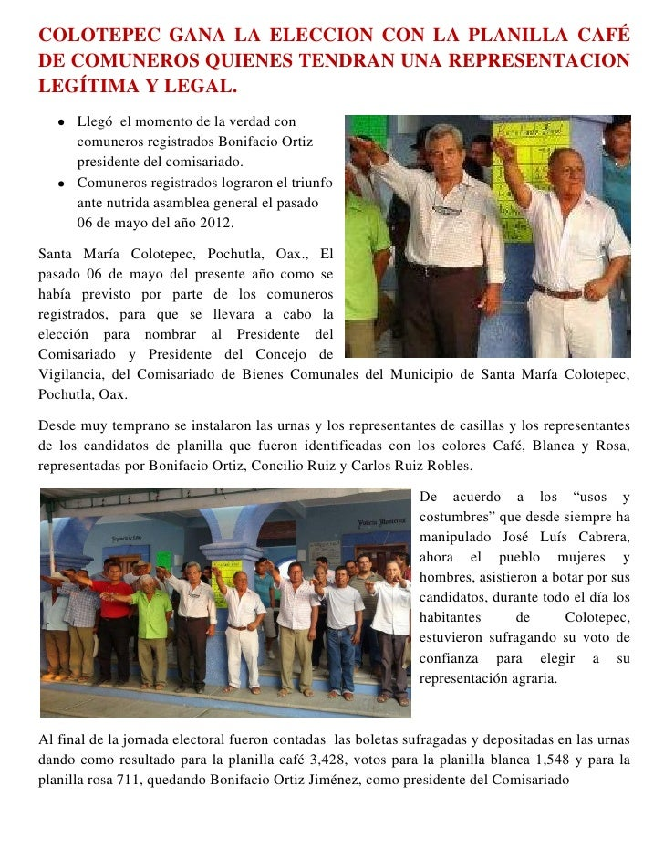 COLOTEPEC GANA LA ELECCION CON LA PLANILLA CAFÉDE COMUNEROS QUIENES TENDRAN UNA REPRESENTACIONLEGÍTIMA Y LEGAL.      Llegó...
