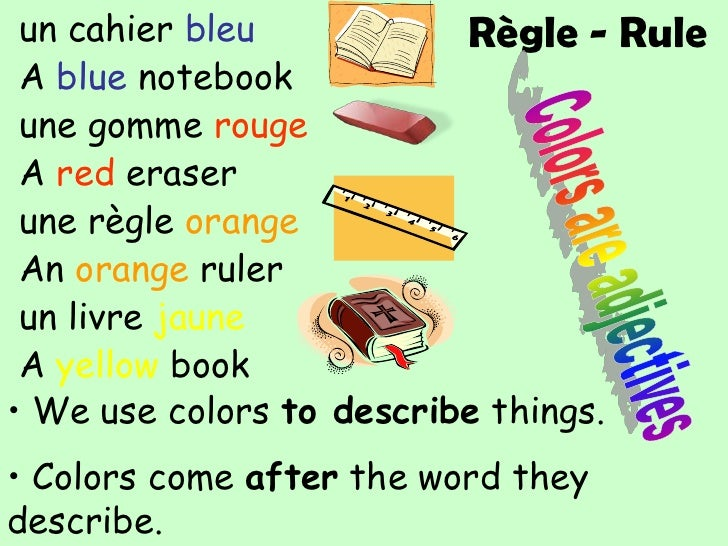 Colors come after the word they describe.</li></li></ul><li>put the words in the correct order<br />cahier<br />un<br />bl...