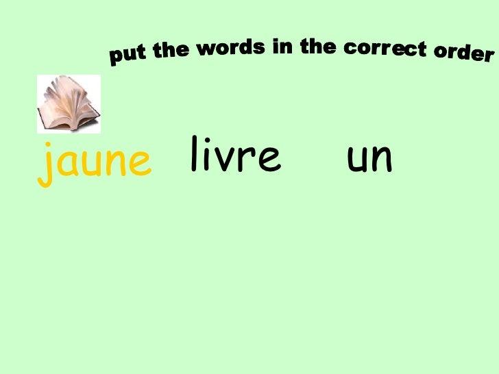 put the words in the correct order<br />un<br />crayon<br />orange<br />