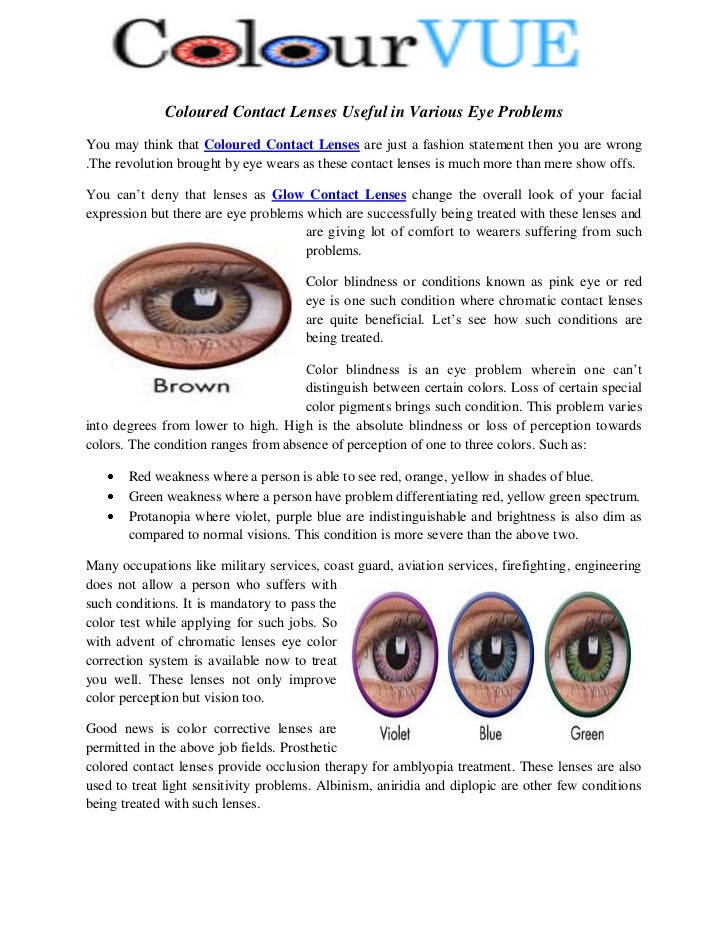Coloured Contact Lenses Useful In Various Eye Problems