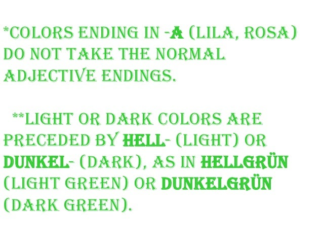 Green Farben german colours die farben