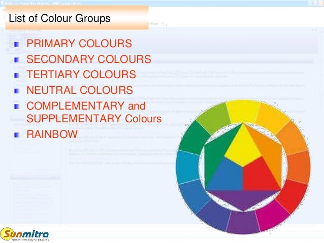 List Of Colour Groups PRIMARY COLOURS