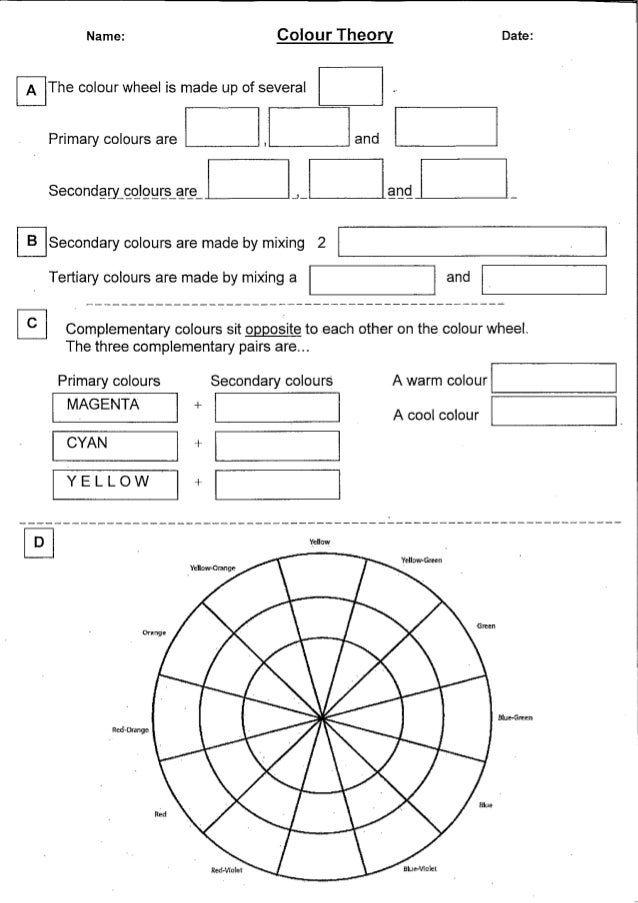 Colour worksheets – Color Theory Worksheets
