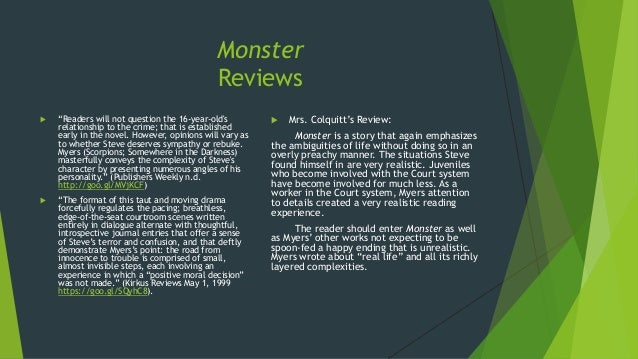 walter dean myers monster questions