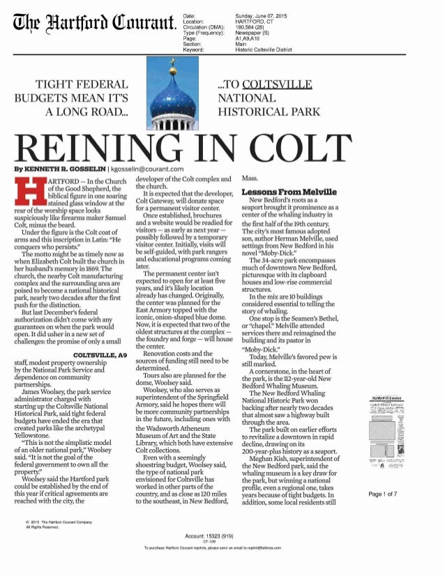 Coltsville Article in Hartford Courant June 2015