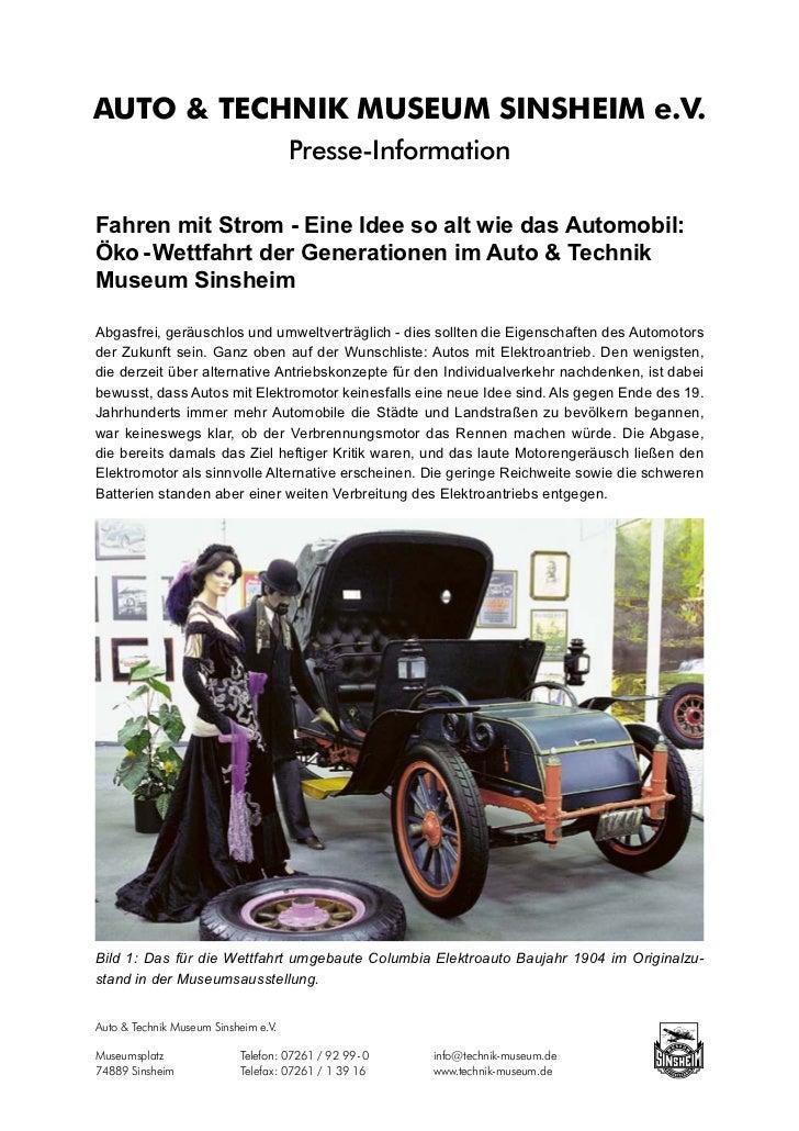 AUTO & TECHNIK MUSEUM SINSHEIM e.V.                                      Presse-InformationFahren mit Strom - Eine Idee so...