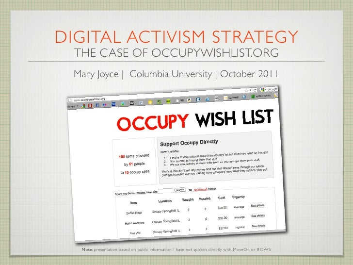 DIGITAL ACTIVISM STRATEGY  THE CASE OF OCCUPYWISHLIST.ORG Mary Joyce | Columbia University | October 2011   Note: presenta...