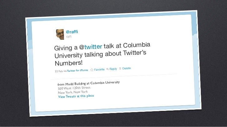 Twitter by the Numbers (Columbia University) Slide 2