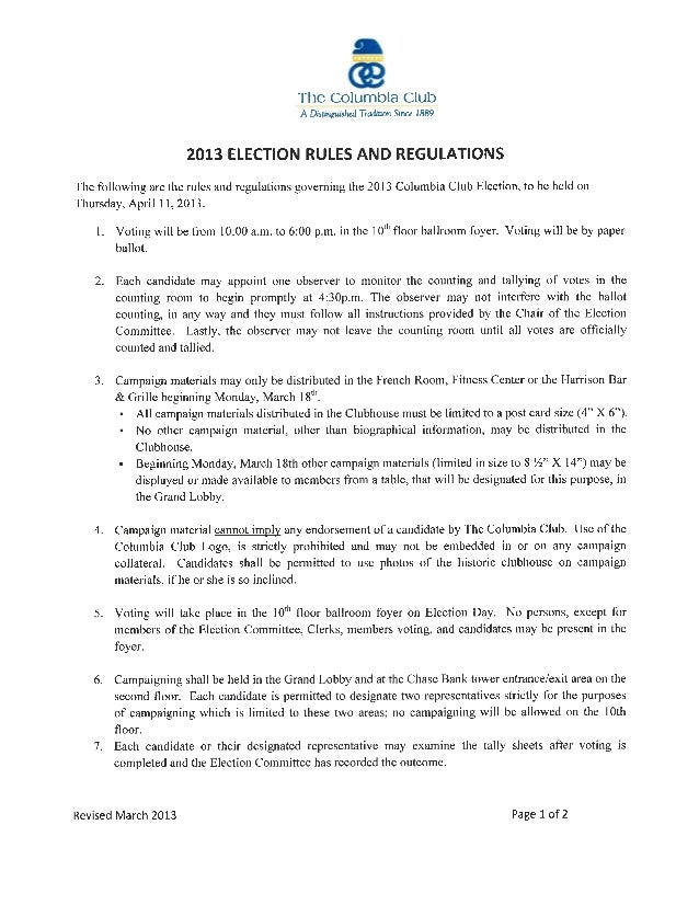 Columbia club election information
