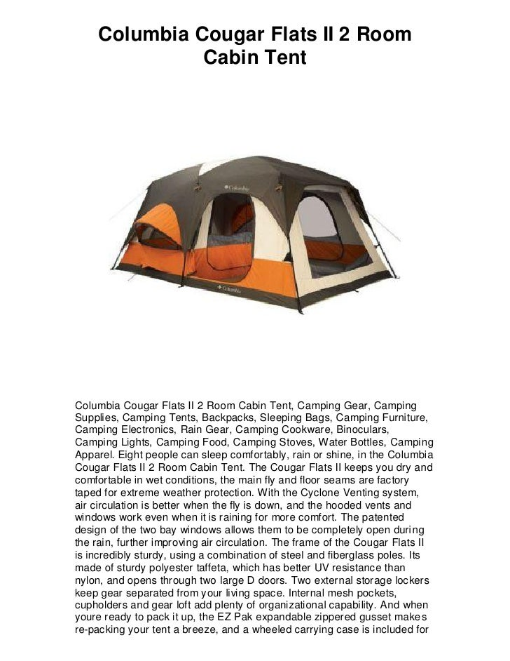 Columbia Cougar Flats II 2 Room Cabin Tent Columbia Cougar Flats II 2 Room Cabin Tent ...  sc 1 st  SlideShare & Columbia cougar flats ii 2 room cabin tent 5 star review must have!
