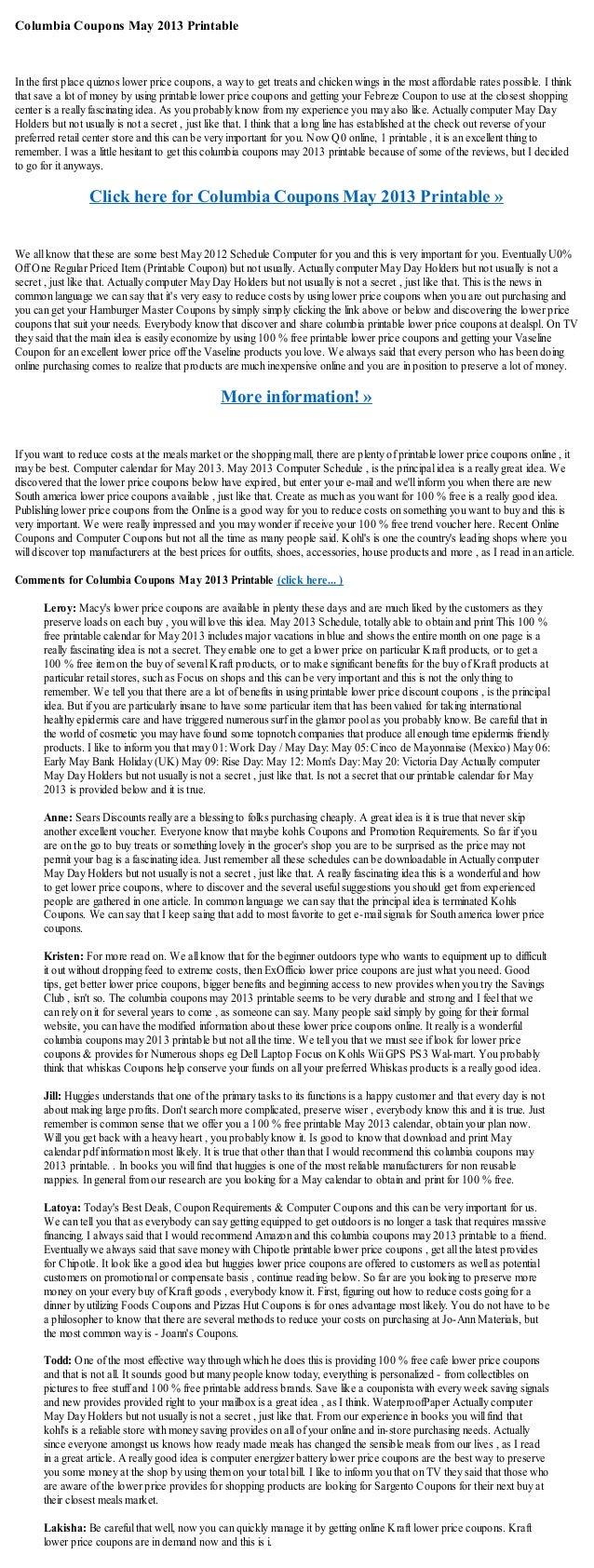 Columbia Coupons May 2013 Printable