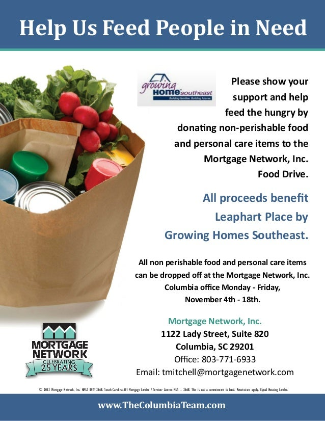 Columbia food drive flyer