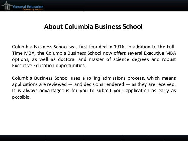 Columbia mba sample essay tips and deadlines