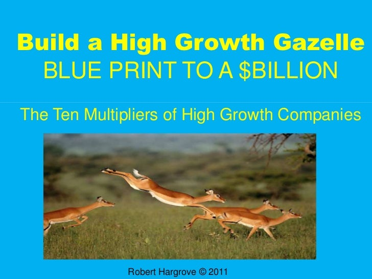 Build a High Growth GazelleBLUE PRINT TO A $BILLION<br />The Ten Multipliers of High Growth Companies<br />Robert Hargrove...