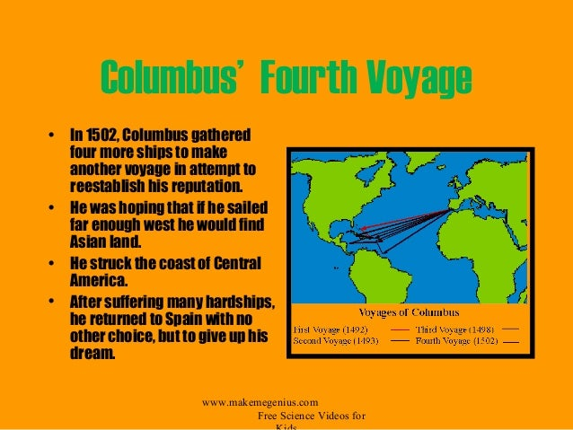 columbus letter about his fourth voyage A copy of the letter was brought to rome in 1506 by columbus's brother,   places columbus visited along the honduran coast on the fourth voyage are.