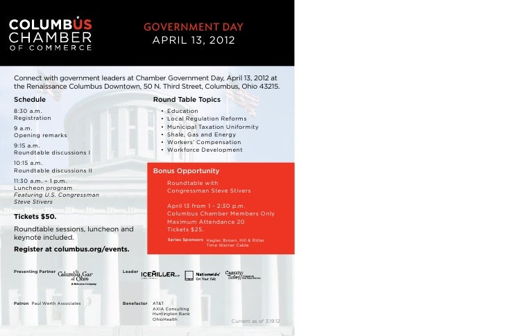 Government DaY                                         APRIL 13, 2012Connect with government leaders at Chamber Government...