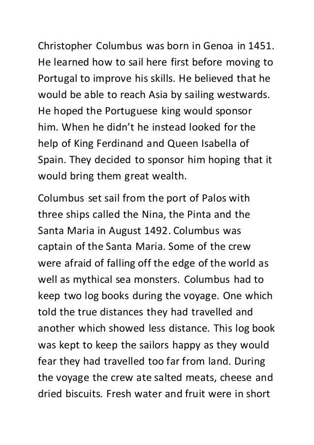 columbus essay christopher columbus was born in genoa in 1451 he learned how to sail here first