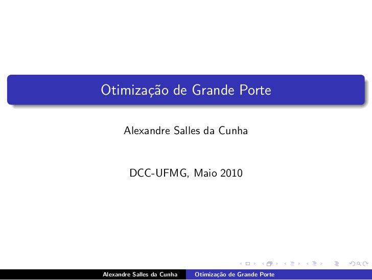Otimiza¸˜o de Grande Porte       ca       Alexandre Salles da Cunha        DCC-UFMG, Maio 2010Alexandre Salles da Cunha   ...