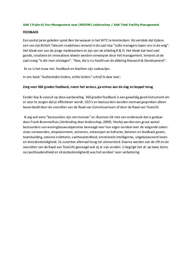 AAA (Triple A) Van Management naar (NIEUW) Leiderschap / AAA Total Facility Management FEEDBACK Een aantal jaren geleden s...