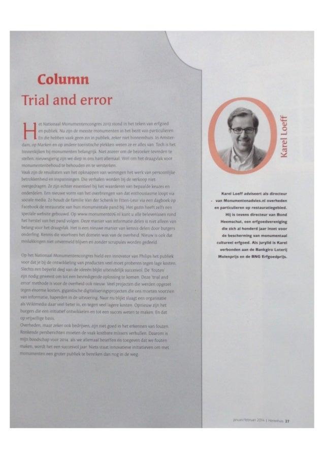 """Column Karel Loeff over Erfgoed- en monumentensector """"Trial and Error"""""""