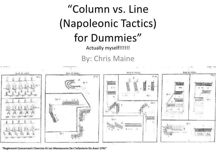 """Column vs. Line (Napoleonic Tactics) for Dummies""Actually myself!!!!!!<br />By: Chris Maine<br />""Reglement Concernant L'..."