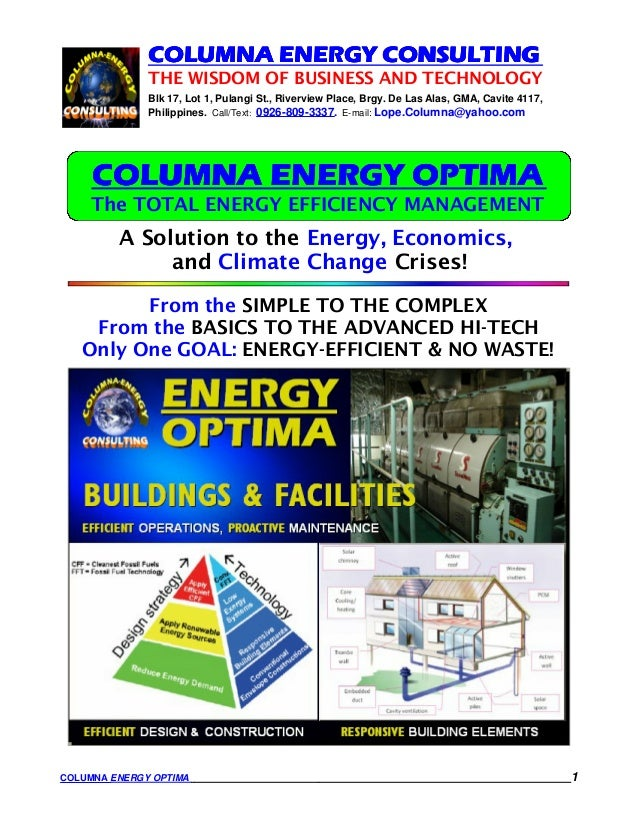 COLUMNA ENERGY CONSULTING              THE WISDOM OF BUSINESS AND TECHNOLOGY              Blk 17, Lot 1, Pulangi St., Rive...