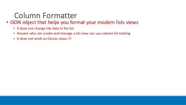 Column Formatter in SharePoint Online