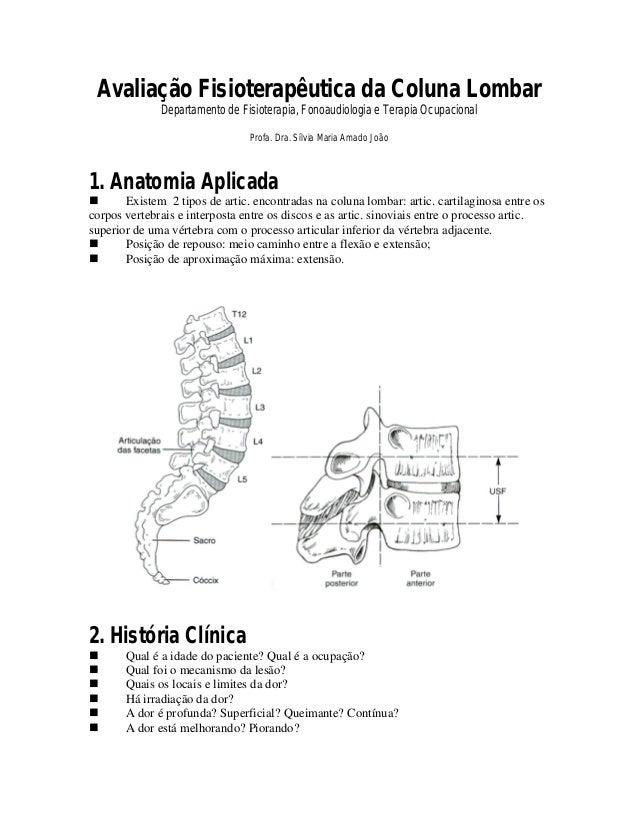 Avaliação Fisioterapêutica da Coluna Lombar              Departamento de Fisioterapia, Fonoaudiologia e Terapia Ocupaciona...