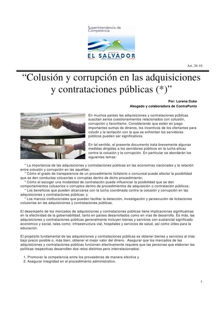 """Art. 26-10    """"Colusión y corrupción en las adquisiciones        y contrataciones públicas (*)""""                           ..."""