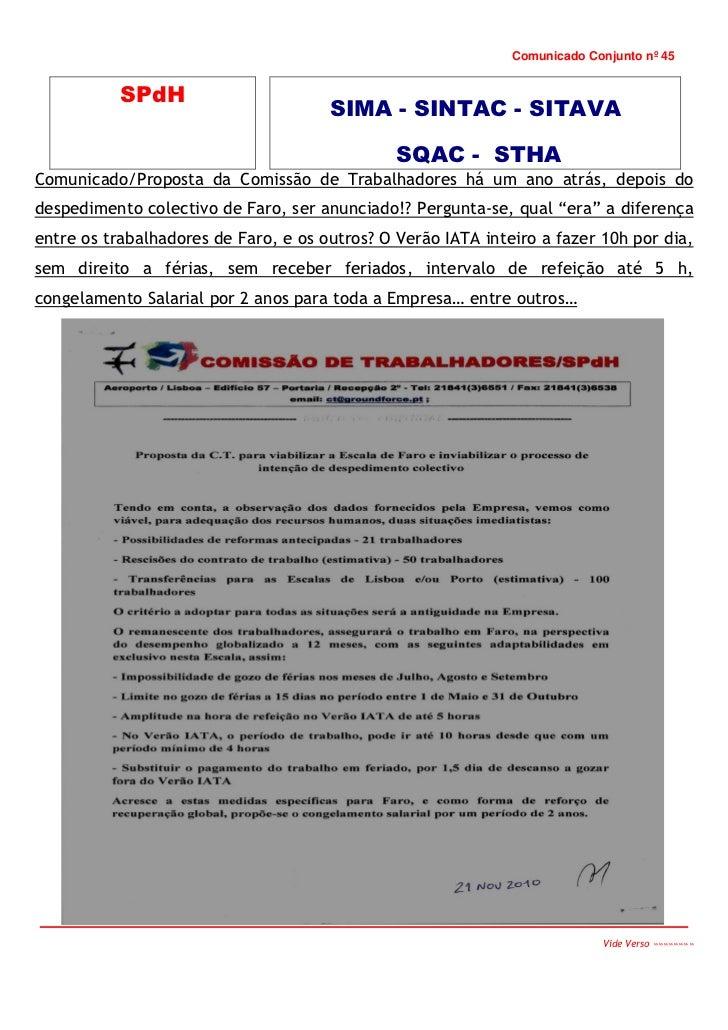 Comunicado Conjunto nº 45           SPdH                                      SIMA - SINTAC - SITAVA                      ...