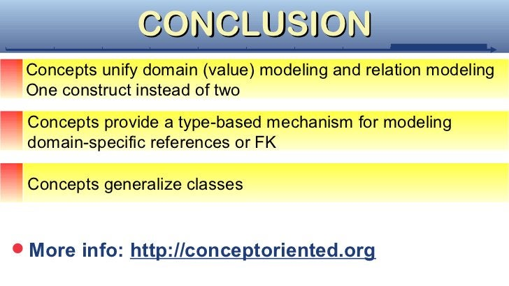 CONCLUSION Concepts unify domain (value) modeling and relation modeling One construct instead of two Concepts provide a ty...